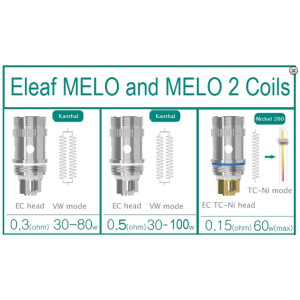 Single Eleaf Ijust 2 / Eleaf Melo 2 Titanium (Ti), Nickel (Ni) or Kanthal Coil (Istick 60W Default Tank Coil)
