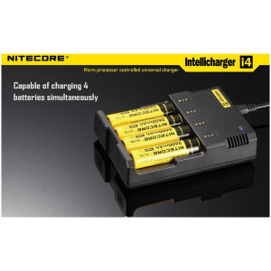 Nitecore I4 (4 Port) Fast & Inteliligent Battery Charger for 18650, AA, AAA Batteries