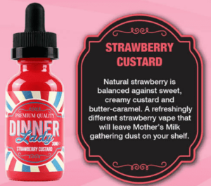 Dinner Lady Premium E-Liquids 60ml Strawberry Custard – 3MG-0
