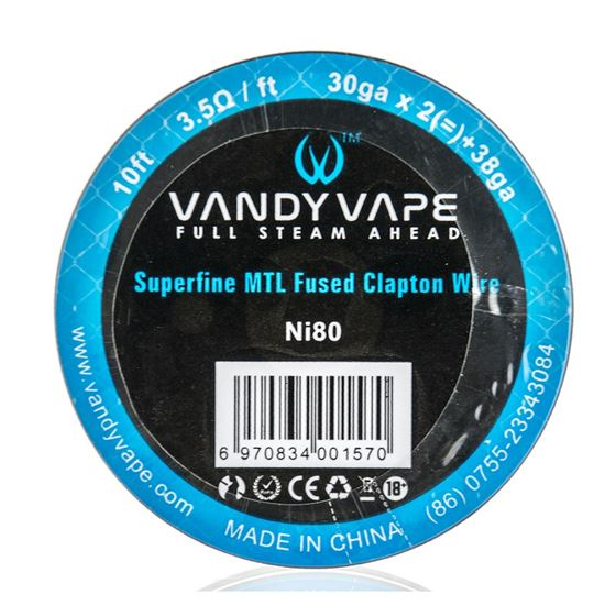 Vandy Vape Superfine MTL | Fused Clapton Wire Ni80 | 10ft